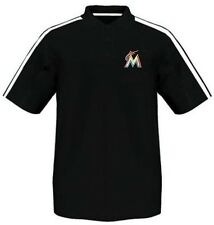 Miami Marlins Majestic Synthetic Arm Polo Shirt Black Men's Big & Tall Sizes