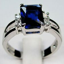 New Ring 10K White Gold Filled Blue Sapphire Wedding Gift Lady Lucky Size 6-9 FS