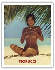 Fiorucci - Nude Girl on Beach 1970s Vintage Advertising Poster Fine Art Print