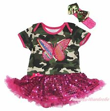 Rainbow Butterfly Camouflage Bodysuit Girls Pink Bling Sequin Baby Dress NB-18M