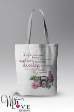 LIFE IS LIKE A CAMERA FLORAL QUOTE TOTE SHOPPER SHOPPING BAG PERSONALISED GIFT