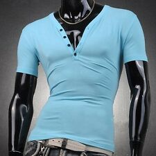 2015 Hot Sale MensT Shirt V Neck Laundry Cotton Short Sleeved Casual Tops Sexy