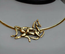 STUNNING 14K Gold Celtic Equestrian Horse Pendant Necklace With Italian Omega