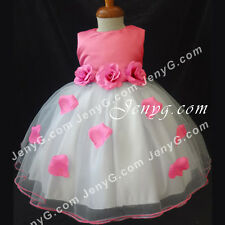 #HM51 Flower Girls/Pageant/Christening/Formal Gowns Dresses, Fuchsia 0-24 Months