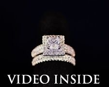 Excellent Princess Cut 2.+CT 2Pcs Engagement Wedding Ring 22KT St.Silver Italy