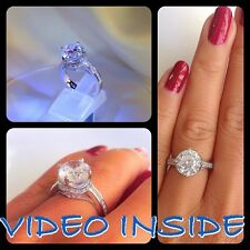 ***Round Cut  4.8CT Engagement Diamond Ring Fine.22KT St.Silver Made in Italy