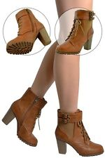 Womens Faux Leather Lace Up Stacked Heel Ankle Booties w/ Buckle Strap Tan Boot