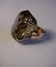 14K Gold Smoky Quartz Coctail Ring 54.28 Carats Size 5 Antique Semi Precious Gem