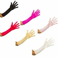 Long Satin Gloves Soft Stretch Smooth Shiny  Satin Occasional Gloves 10 colorus