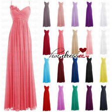 2017  STOCK Long Chiffon Formal Prom Ball Party Evening Gowns Bridesmaid Dresses