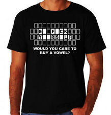 Funny Buy A Vowel Rude Offensive F**K Yourself New Black Mens Novelty T-Shirt