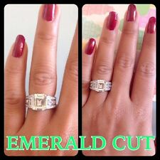 Fine*4.1CT Emerald Cut Engagement Diamond Ring Platinum Fine.925.Silver ITALY