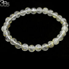 7mm Round Natural  Yellow Rutilated Quartz Gemstone Jewelry Stretch Bracelet