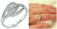 Sterling Silver 925 TANGLED STRING PAVE CLEAR CZ DESIGN RING 11MM SIZES 4-10