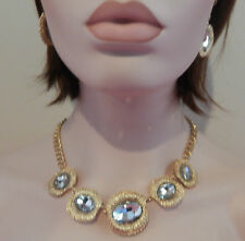 Large Gold Diamante Necklace & Earing Sets - BNWT