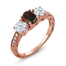 2.37 Ct Oval Brown Smoky Quartz 18K Rose Gold Plated Silver Ring