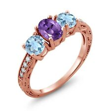 1.87 Ct Oval Purple Amethyst Sky Blue Topaz 18K Rose Gold Plated Silver Ring