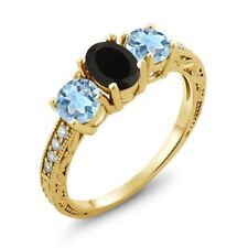 1.72 Ct Oval Black Onyx Sky Blue Aquamarine 18K Yellow Gold Ring