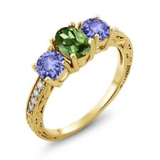 1.74 Ct Oval Green Tourmaline Blue Tanzanite 18K Yellow Gold Plated Silver Ring