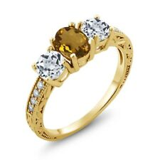 1.82 Ct Oval Whiskey Quartz White Topaz 18K Yellow Gold Plated Silver Ring