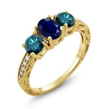 2.24 Ct Oval Blue Sapphire Blue Diamond 18K Yellow Gold Plated Silver Ring