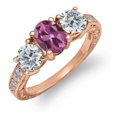 1.97 Ct Oval Pink Tourmaline G/H Diamond 18K Rose Gold Plated Silver Ring