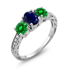 2.82 Ct Oval Blue Sapphire Green Simulated Emerald 14K White Gold Ring