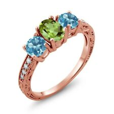 1.92 Ct Oval Green Peridot Swiss Blue Topaz 18K Rose Gold Ring