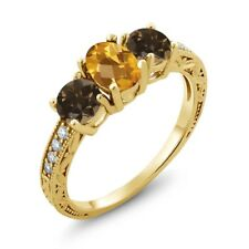 1.74 Ct Oval Checkerboard Yellow Citrine Brown Smoky Quartz 14K Yellow Gold Ring