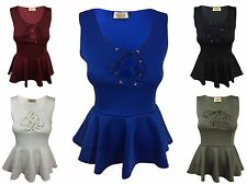 NEW WOMENS LADIES SLEEVELESS LACE UP TIE V FRONT FRILL PEPLUM TOP SEXY LOOK VEST