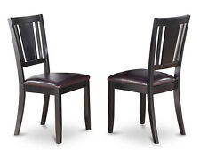 DUC-BLK Set of 2 Dudley Dining Chair in Black & Cherry Finish