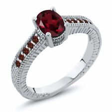 1.30 Ct Oval Red Rhodolite Garnet Garnet 14K White Gold Engagement Ring