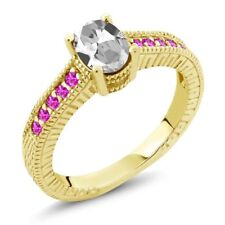 1.45 Ct Oval White Topaz Pink Sapphire 18K Yellow Gold Plated Silver Ring