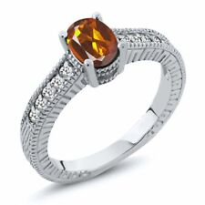 0.92 Ct Oval Orange Red Madeira Citrine White Sapphire 925 Sterling Silver Ring