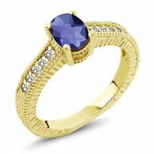 0.87 Ct Oval Checkerboard Blue Iolite White Sapphire 18K Yellow Gold Ring