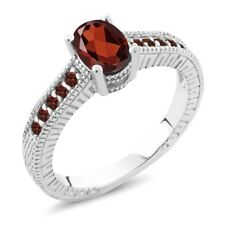 1.30 Ct Oval Red VS Garnet 925 Sterling Silver Engagement Ring