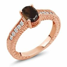 0.97 Ct Oval Brown Smoky Quartz White Sapphire 18K Rose Gold Plated Silver Ring