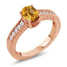 1.00 Ct Oval Checkerboard Yellow Citrine 18K Rose Gold Engagement Ring