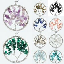 Natural Stone Wire Wrap Tree of Life Tumbled Chips Beads Healing Reiki Pendant