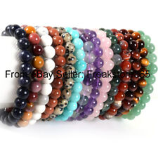 8mm  8.5 Inch Elegant Handmade Natural Gemstone Round  Beads Stretcy Bracelet