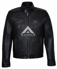 'RAGE' Men's BLACK WAX Short Bomber Biker Motorcycle Style Real Leather Jacket