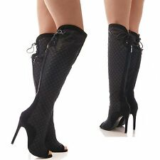 LADIES WOMENS KNEE HIGH MESH BOOTS HIGH HEEL PEEP TOE BLACK FASHION SHOES SIZE