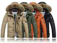 Man Warm Fur Collar Hooded Parka Winter Thick Duck Down Coat Outwear Down Jacket
