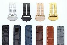 22MM LEATHER WATCH BAND STRAP CLASP FOR TAG HEUER CARERRA MONACO 3TC