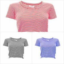 Women's Cropped Scoop Neck Striped T-Shirt Crop Top in Blue Red and Black
