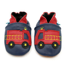Dotty Fish Soft Leather Baby Boys Shoes - Navy Fire Engine - 0-6mths - 3-4yrs