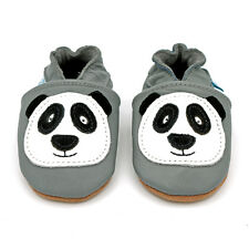 Soft Leather Baby Shoes with Suede Sole - Grey Panda - 0-6 Months - 3-4 Years