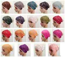 New Color Lace Muslim Inner Hijab Caps Islamic Underscarf Hats WW27