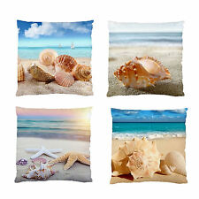2 SIDE PRINT-BEACH OCEAN SHELLS SMOOTH FIRM FEEL HOME DECOR CUSHION CASE / COVER
