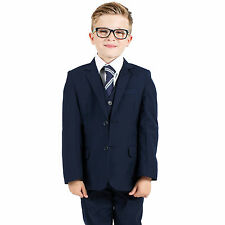 Boys Suits Boys Navy Suit Blue Suit 5pc Slim Fit Wedding PageBoy Formal Party